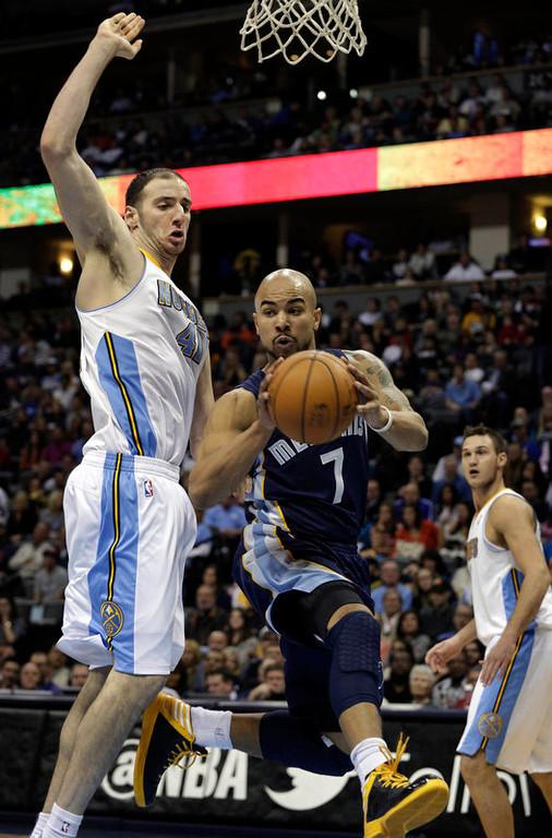 . Denver Nuggets Kosta Koufos (41) guards Memphis Grizzlies Jerryd Bayless in the second quarter of a NBA game in Denver on Friday, Dec. 14, 2012.(AP Photo/Joe Mahoney)