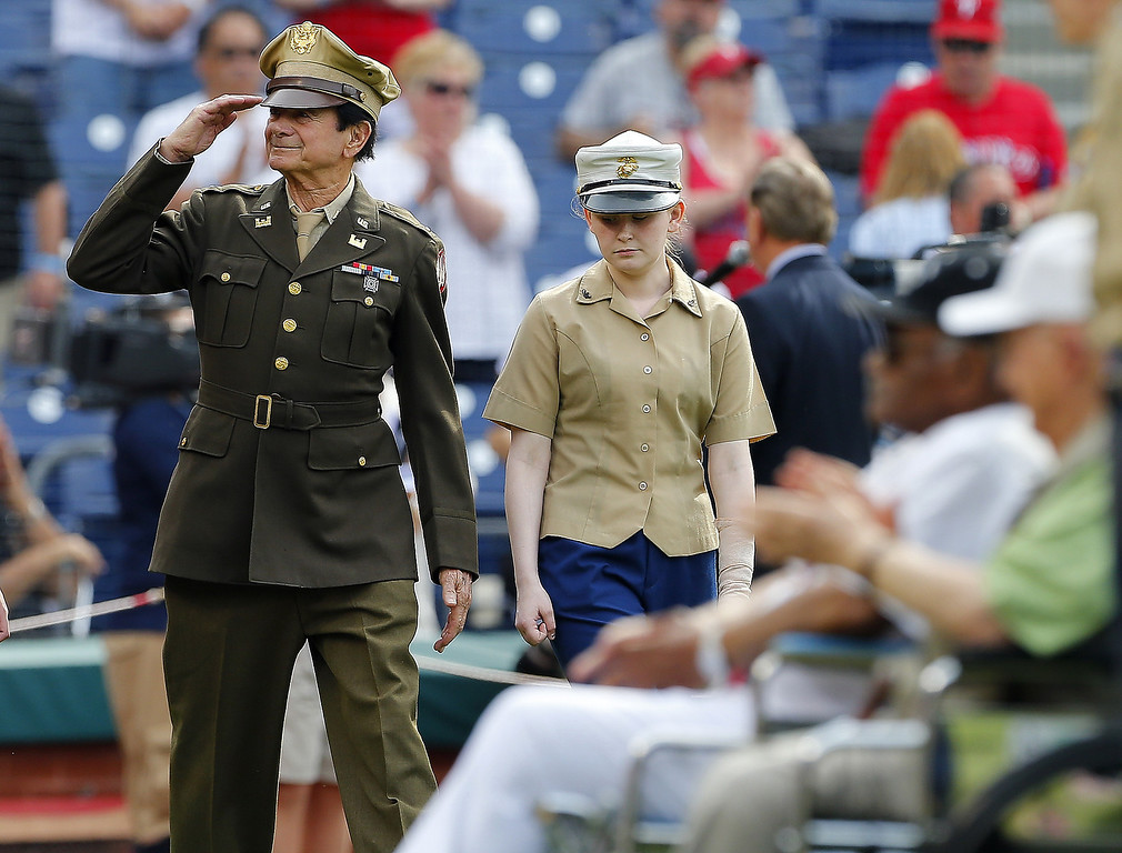 . PHILADELPHIA, PA - MAY 26: World War II veterans were among those introduced before the start of a Memorial Day game between the Colorado Rockies and the Philadelphia Phillies at Citizens Bank Park on May 26, 2014 in Philadelphia, Pennsylvania. (Photo by Rich Schultz/Getty Images)