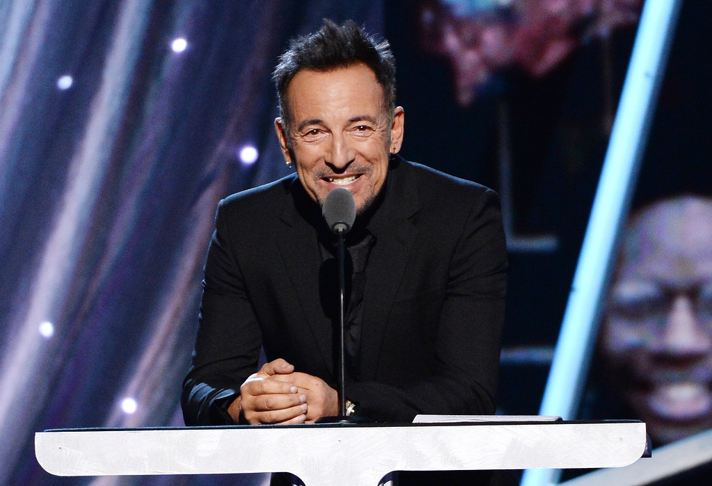 . Musician Bruce Springsteen speaks onstage at the 29th Annual Rock And Roll Hall Of Fame Induction Ceremony at Barclays Center of Brooklyn on April 10, 2014 in New York City.  (Photo by Larry Busacca/Getty Images)