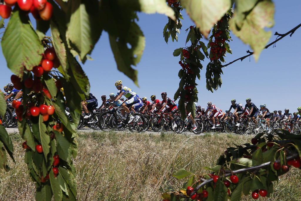 . The pack rides during the 176.5 km sixth stage of the 100th edition of the Tour de France cycling race on July 4, 2013 between Aix-en-Provence and Montpellier, southern France. JOEL SAGET/AFP/Getty Images