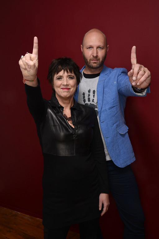 . Filmmakers Eve Ensler and Tony Stroebel pose for a portrait during the 2014 Sundance Film Festival at the Getty Images Portrait Studio at the Village At The Lift on January 22, 2014 in Park City, Utah.  (Photo by Larry Busacca/Getty Images)