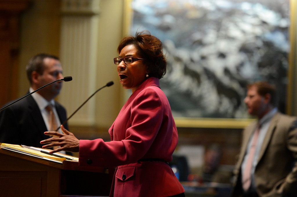 . DENVER, CO. - FEBRUARY 15: Representative Rhonda Fields gives her argument for HB 1224 prohibiting large capacity ammunition magazines in the Colorado House at the Denver State Capitol February 15, 2013. Denver, Colorado. (Photo By Joe Amon/The Denver Post)