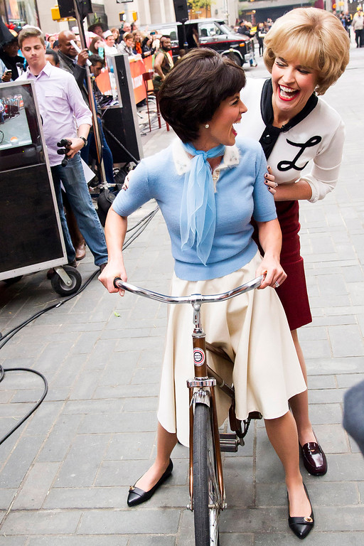 """. Savannah Guthrie, right, and Natalie Morales dress as television characters Laverne and Shirley on NBC\'s \""""Today\"""" Halloween show on Thursday, Oct. 31, 2013 in New York. (Photo by Charles Sykes/Invision/AP)"""