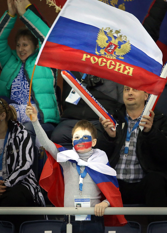 . Supporters of Russia cheer watching the Round Robin games in the Women\'s Curling competition in the Ice Cube Curling Center at the Sochi 2014 Olympic Games in Sochi, Russia.  EPA/TATYANA ZENKOVICH