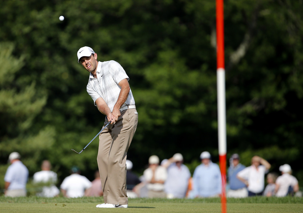 . Charl Schwartzel of South Africa chips on the tenth green during Round Three of the 113th U.S. Open at Merion Golf Club on June 15, 2013 in Ardmore, Pennsylvania.  (Photo by Rob Carr/Getty Images)