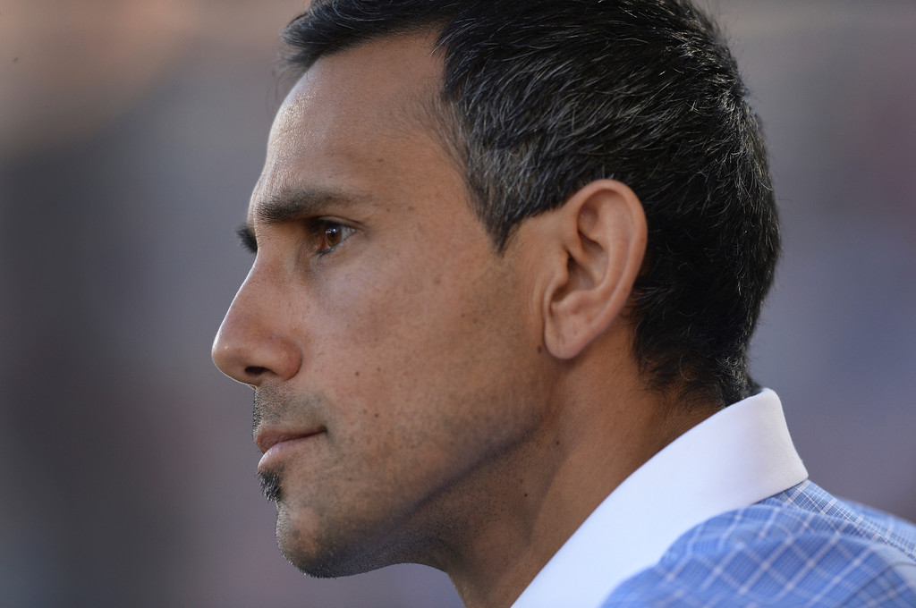 . COMMERCE CITY, CO - MAY 3:  Colorado coach Pablo Mastroeni notched another win Saturday night.  The Colorado Rapids defeated the Los Angeles Galaxy 1-0 Saturday night, May 3, 2014 at Dick\'s Sporting Good Park. (Photo by Karl Gehring/The Denver Post)