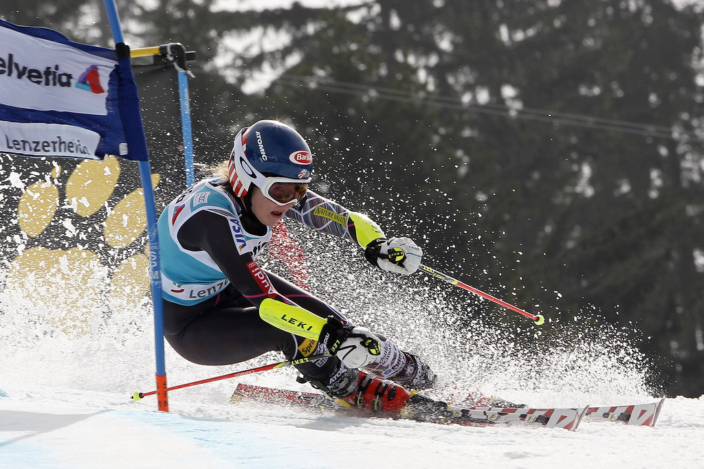 . Mikaela Shiffrin of the USA competes during the Audi FIS Alpine Ski World Cup Finals Women\'s Giant Slalom on March 16, 2014 in Lenzerheide, Switzerland. (Photo by Alexis Boichard/Agence Zoom/Getty Images)