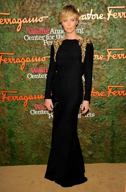 . Actress Charlize Theron arrives at the Wallis Annenberg Center for the Performing Arts Inaugural Gala on Thursday, Oct. 17, 2013, in Beverly Hills, Calif. (Photo by Chris Pizzello/Invision/AP)