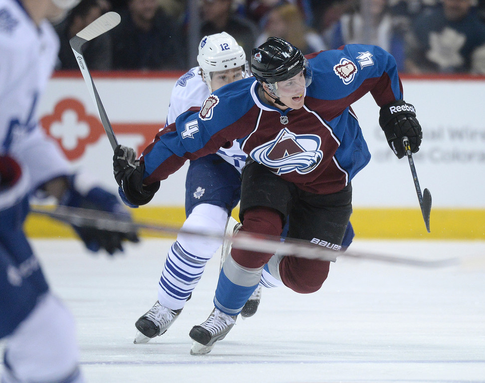 . DENVER, CO. - JANUARY 21: Colorado defenseman Tyson Barrie (4) skated  in the first period. The Colorado Avalanche hosted the Toronto Maple Leafs Tuesday night, January 21, 2014 at the Pepsi Center. Photo By Karl Gehring/The Denver Post