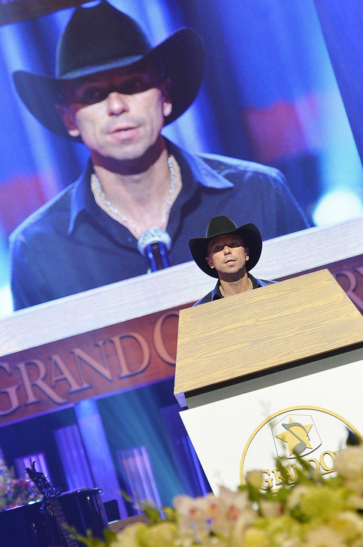 . Country singer Kenny Chesney speaks at the funeral service for George Jones at The Grand Ole Opry on May 2, 2013 in Nashville, Tennessee.  (Photo by Rick Diamond/Getty Images for GJ Memorial)