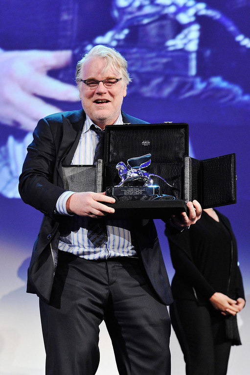 . According to reports February 2, 2014, Philip Seymour Hoffman, 46, was found dead in his New York City apartment. Actor Philip Seymour Hoffman collects the Silver Lion for Best Director on behalf of director Paul Thomas Anderson on stage during the Award Ceremony at the 69th Venice Film Festival at the Palazzo del Cinema on September 8, 2012 in Venice, Italy.  (Photo by Gareth Cattermole/Getty Images)