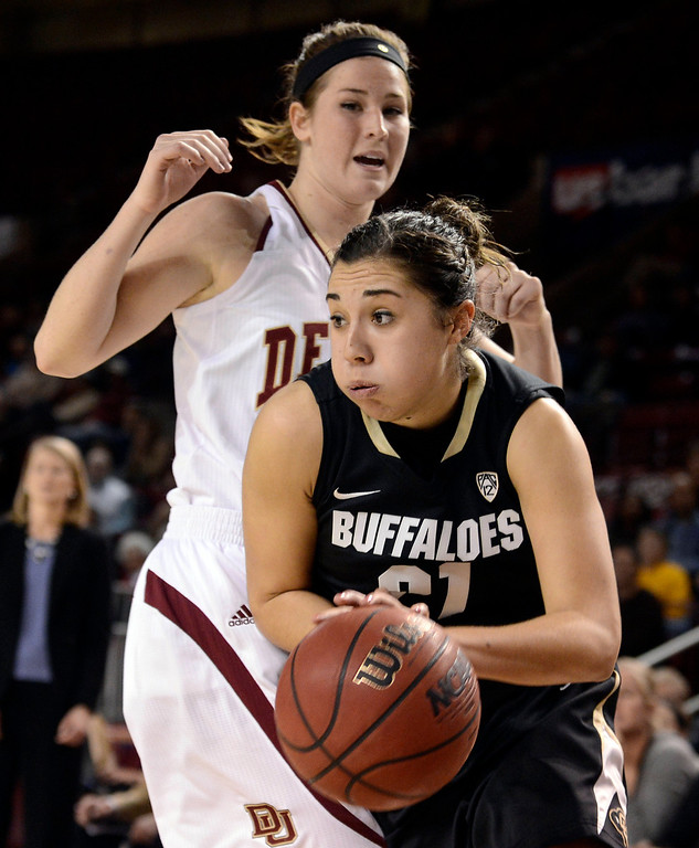 . University of Colorado\'s Jasmine Sborov drives to the hoop during a games against the University of Denver on Tuesday, Dec. 11, at the Magnus Arena on the DU campus in Denver.  (Jeremy Papasso/Daily Camera)