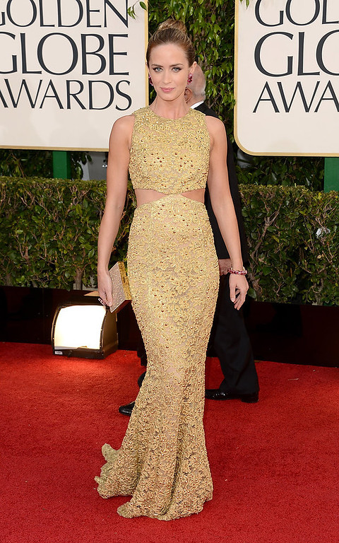 . Actress Emily Blunt arrives at the 70th Annual Golden Globe Awards held at The Beverly Hilton Hotel on January 13, 2013 in Beverly Hills, California.  (Photo by Jason Merritt/Getty Images)