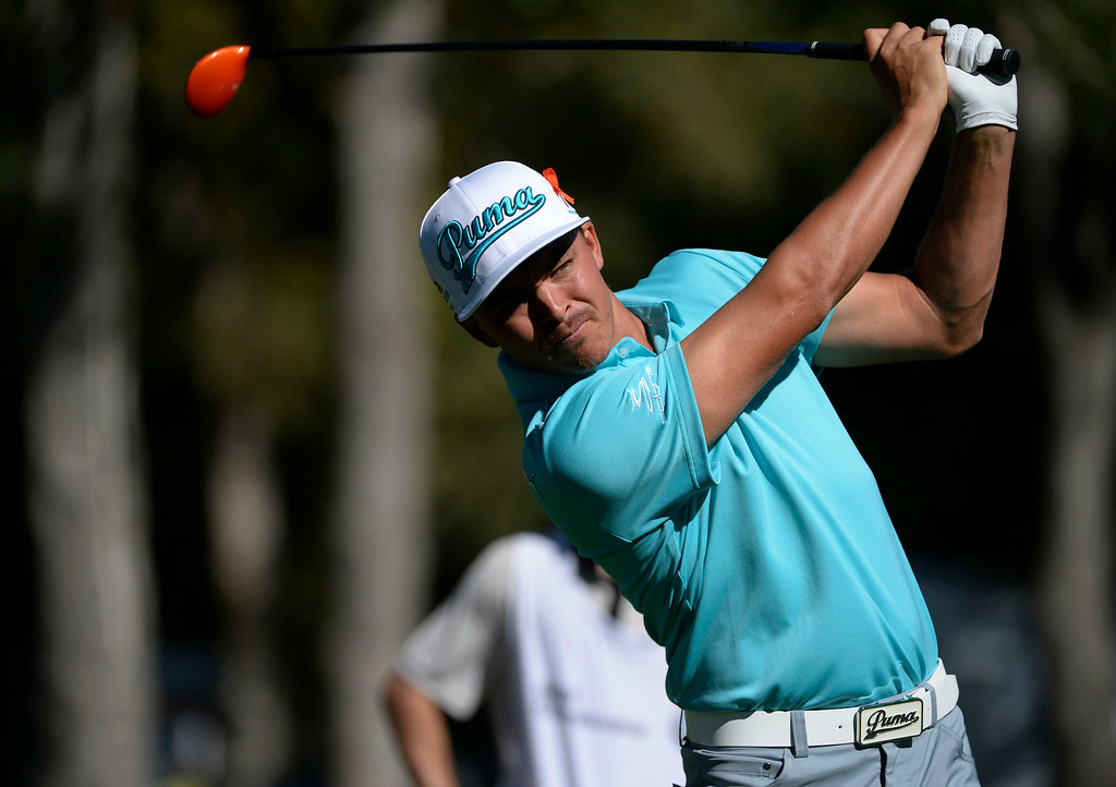 . CHERRY HILLS VILLAGE, CO. - SEPTEMBER 03:  Pro Golfer, Rickie Fowler, hits his tee shot off the second tee box during the FedExCup BMW Championship Pro-Am at the Cherry Hills Country Club Wednesday, September 03, 2014. (Photo By Andy Cross / The Denver Post)