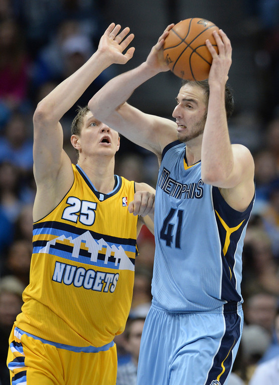 . DENVER, CO. - JANUARY 03:  Former Nugget Kosta Koufos (41) worked against Denver center Timofey Mozgov (25) in the second half. The Denver Nuggets broke an eight-game losing streak with a 111-108 win over the Memphis Grizzlies at the Pepsi Center Friday night, January 3, 2014. Photo By Karl Gehring/The Denver Post