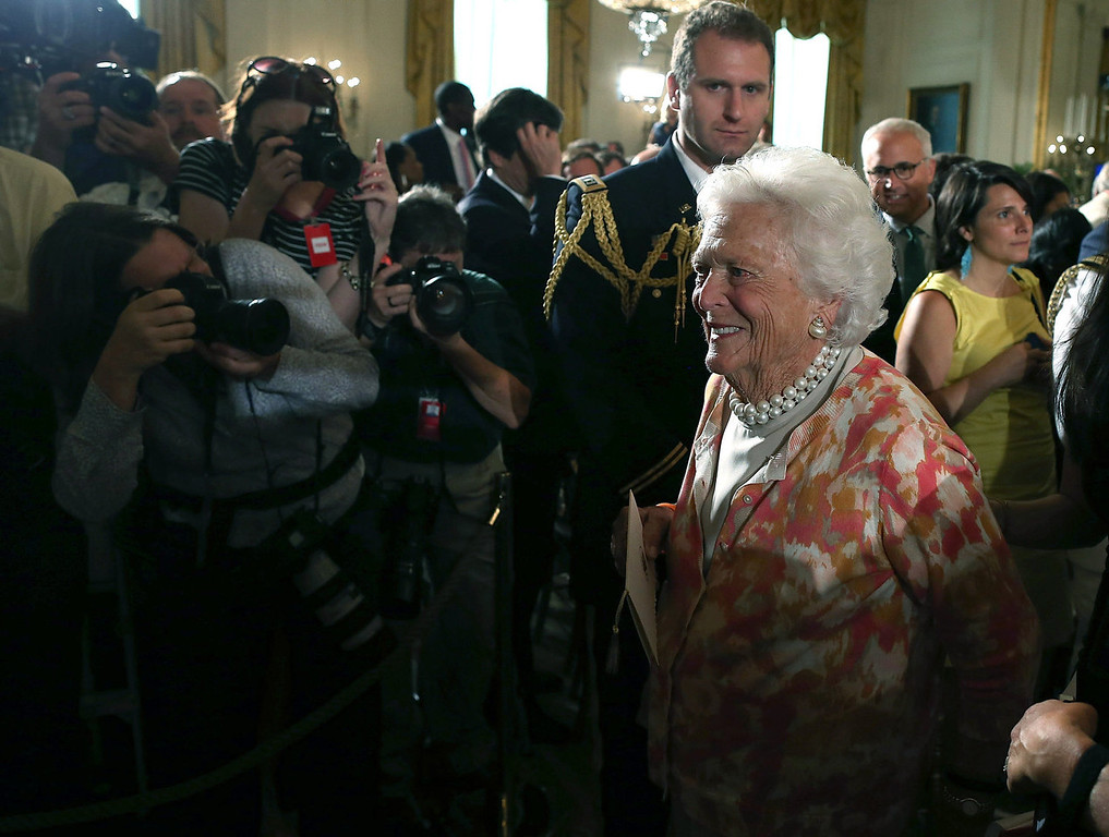 . Former first lady Barbara Bush walks out of an event in the East Room of the White House, July 15, 2013 in Washington, DC. President Barack Obama hosted the event to honor the 5,000th Daily Point of Light Award winner.  (Photo by Mark Wilson/Getty Images)