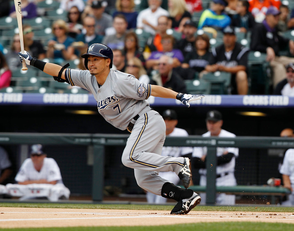 . Milwaukee Brewers\' Norichika Aoki grounds out against the Colorado Rockies in the first inning of a baseball game in Denver on Sunday, July 28, 2013. (AP Photo/David Zalubowski)