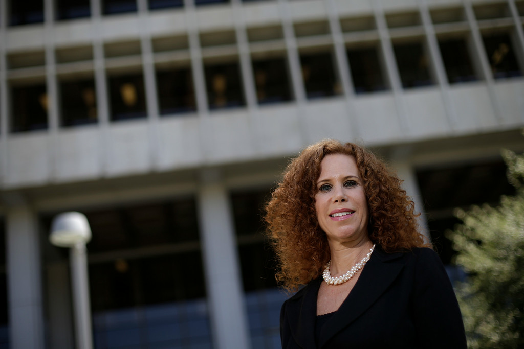 . In this June 19, 2014 photo, Deputy District Attorney Wendy Segall poses for photos outside Clara Shortridge Foltz Criminal Justice Center in Los Angeles. Segall has prosecuted stalking cases in Los Angeles since August 2008, handling cases that have resulted in relief from obsessive fans for stars such as Jennifer Garner, Halle Berry, Olympic gold medalist Shawn Johnson, and Selena Gomez. (AP Photo/Jae C. Hong, file)