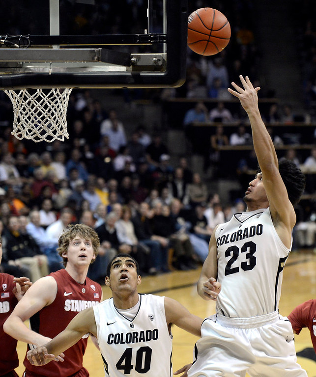 . University of Colorado\'s Sabatino Chen takes a shot during a game against Stanford on Thursday, Jan. 24, at the Coors Event Center on the CU campus in Boulder. Jeremy Papasso/ Camera