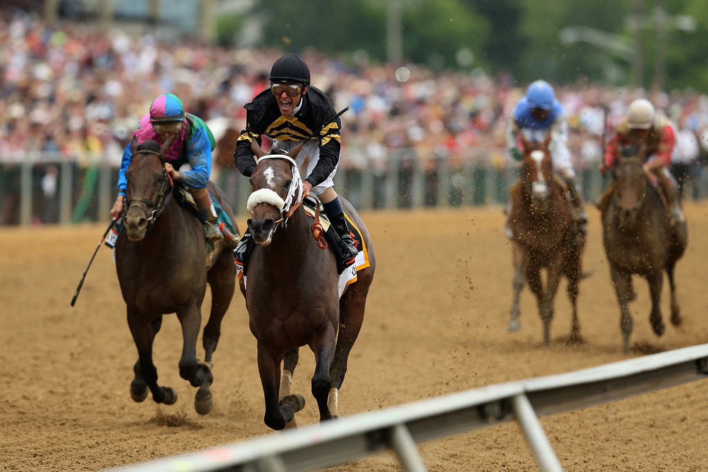 . BALTIMORE, MD - MAY 18:  Gary Stevens celebrates atop of Oxbow #6 celebrates as he comes to the finish line to win the 138th running of the Preakness Stakes at Pimlico Race Course on May 18, 2013 in Baltimore, Maryland.  (Photo by Matthew Stockman/Getty Images)