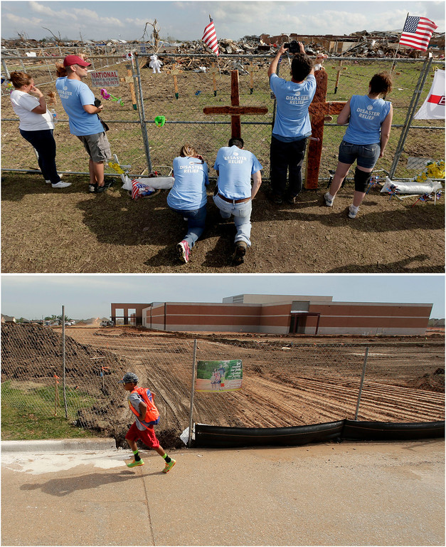 . In this photo combination, volunteers pray at a makeshift memorial on May 26, 2013, outside Plaza Towers Elementary School in Moore, Okla., the day after seven students died when a massive tornado hit the town, top. A boy walks past the rebuilt school building on the same site on May 7, 2014, bottom. (AP Photo/Charlie Riedel)