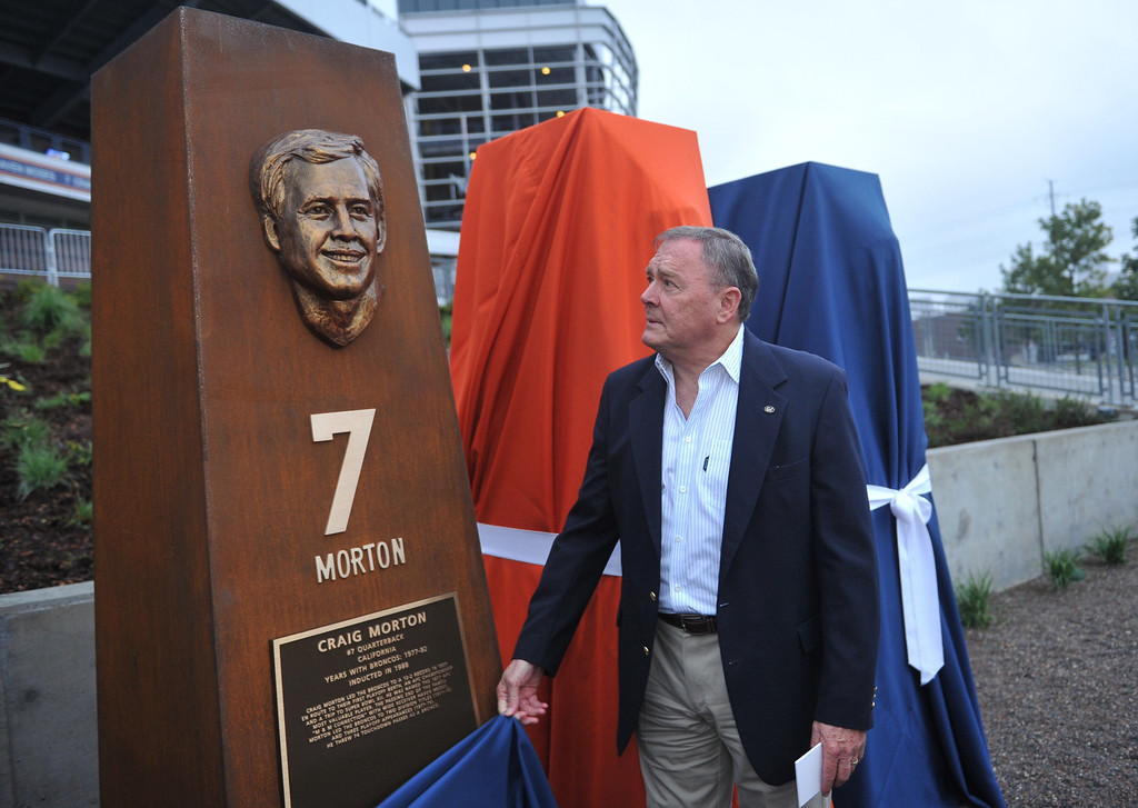 . DENVER, CO - September 27 : Quarterback Craig Morton unveils his sculpture at the Denver Broncos Ring of Fame Plaza in Sports Authority Field at Mile High. Denver, Colorado. September 27, 2013. The Plaza features pillars honoring each of the 24 players in the Broncos� Ring of Fame. (Photo by Hyoung Chang/The Denver Post)