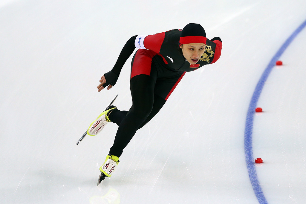 . Hong Zhang of China competes during the Women\'s 1000m Speed Skating event on day 6 of the Sochi 2014 Winter Olympics at Adler Arena Skating Center on February 13, 2014 in Sochi, Russia.  (Photo by Clive Mason/Getty Images)