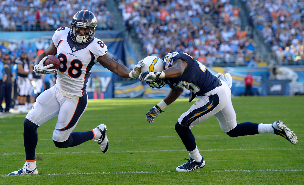 . Wide receiver Demaryius Thomas #88 of the Denver Broncos picks up yards after the catch in the first half at Qualcomm Stadium November 10, 2013 San Diego, CA. (Photo By Joe Amon/The Denver Post)