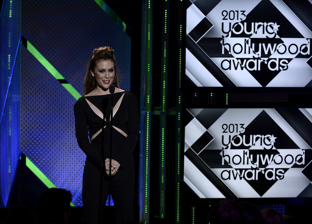 . Actress Alyssa Milano speaks onstage during CW Network\'s 2013 Young Hollywood Awards presented by Crest 3D White and SodaStream held at The Broad Stage on August 1, 2013 in Santa Monica, California.  (Photo by Kevin Winter/Getty Images for PMC)