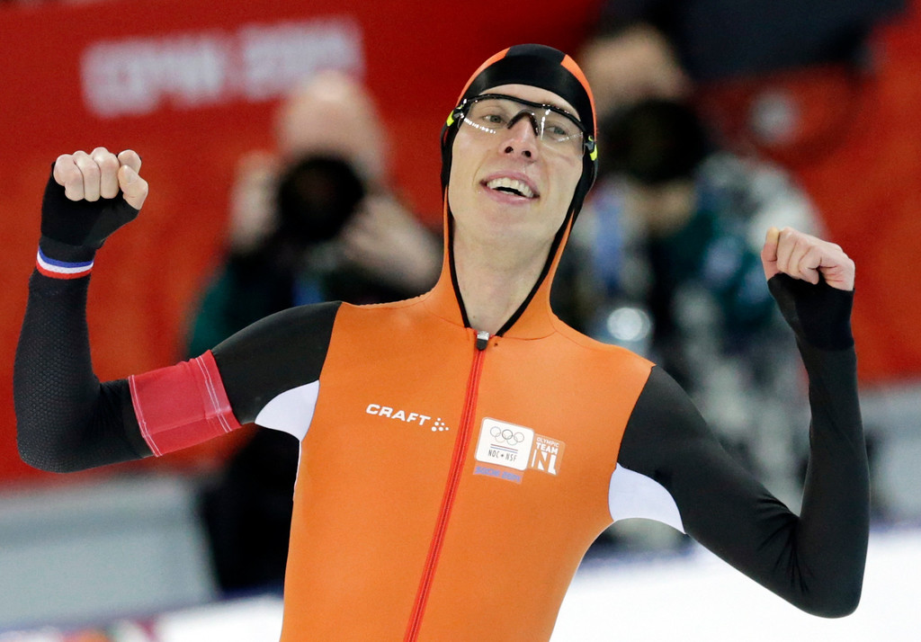 . Gold medallist Jorrit Bergsma of the Netherlands celebrates after setting a new world record in the men\'s 10,000-meter speedskating race at the Adler Arena Skating Center during the 2014 Winter Olympics in Sochi, Russia, Tuesday, Feb. 18, 2014. (AP Photo/Matt Dunham)