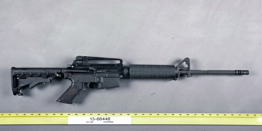 . An evidence photo showing an assault rifle is among several new evidence photos of the June 9 shooting rampage by John Zawahri that were released by the Santa Monica, Calif.,  Police Department at a news conference Thursday, Thursday, June 13, 2013. (AP Photo/Santa Monica Police)