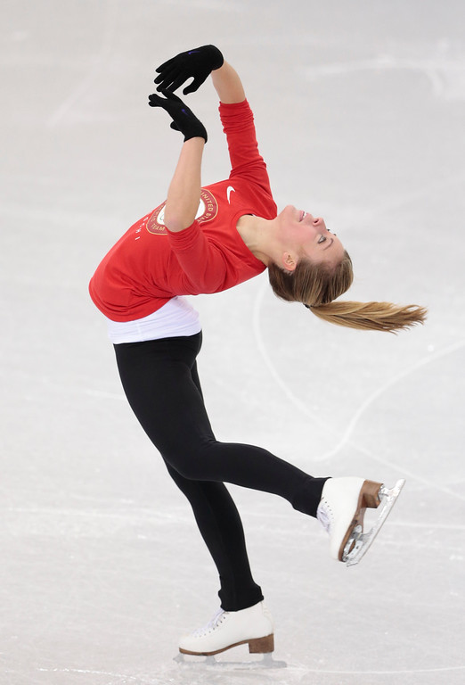 . Ashley Wagner, of the United States, skates at the figure stating practice rink ahead of the 2014 Winter Olympics, Wednesday, Feb. 5, 2014, in Sochi, Russia. (AP Photo/Ivan Sekretarev)