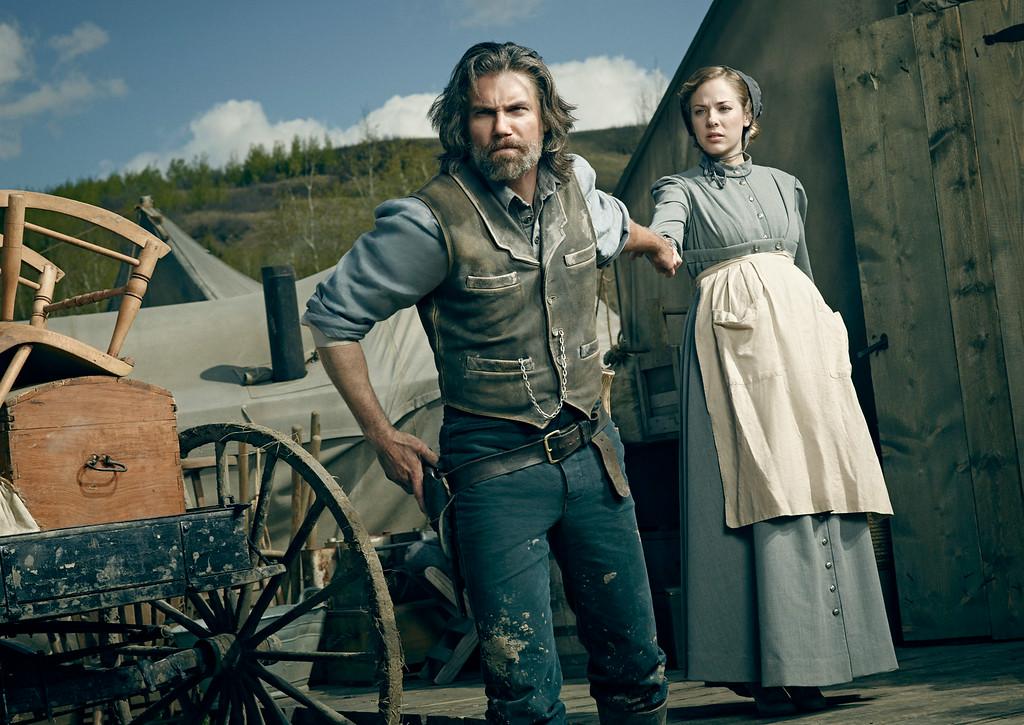 ". Anson Mount as Cullen Bohannon and Mackenzie Porter as Naomi in AMC\'s \""Hell On Wheels\"" Season 4.  (Photo by James Minchin III/AMC)"