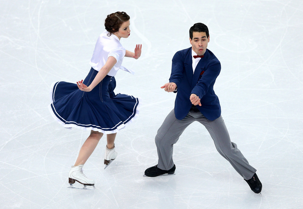 . Anna Cappellini and Luca Lanotte of Italy compete during the Figure Skating Ice Dance Short Dance on day 9 of the Sochi 2014 Winter Olympics at Iceberg Skating Palace on February 16, 2014 in Sochi, Russia.  (Photo by Paul Gilham/Getty Images)