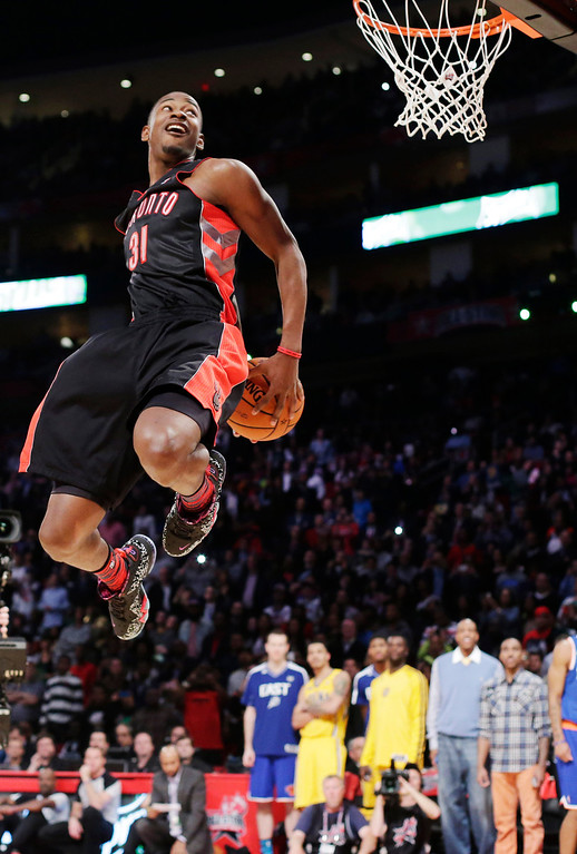 . Terrence Ross of the Toronto Raptors goes up at the dunk contest during NBA All-Star Saturday Night basketball in Houston on Saturday, Feb. 16, 2013. (AP Photo/Eric Gay)