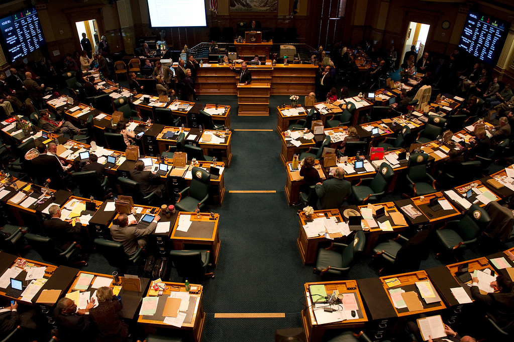 . DENVER, CO - FEBRUARY 15: Members of the Colorado House debate four gun-control bills in the House chamber at the State Capitol on February 15, 2013, in Denver, Colorado. The debate is expected to last most of the day. (Photo by Daniel Petty/The Denver Post)