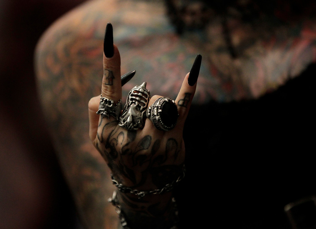 . Tattoo artist Maria Jose Cristerna of Mexico gestures during the Tattoo Art Mex 2012 convention at the World Trade Center in Mexico City August 5, 2012.  REUTERS/Henry Romero