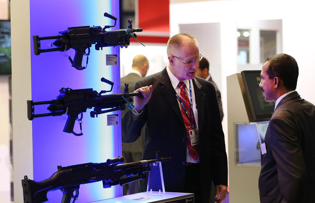 . Belgian rifles are displayed at the Defence and Security Exhibition on September 10, 2013 in London, England.   (Photo by Peter Macdiarmid/Getty Images)