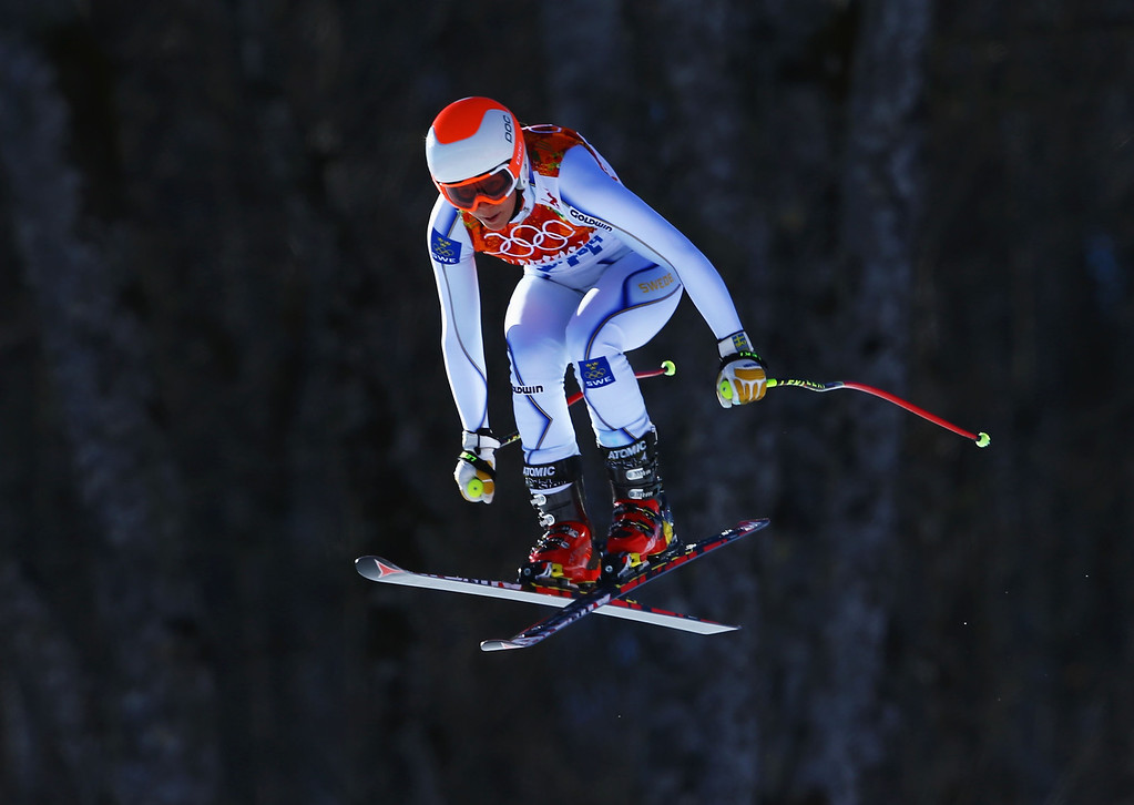 . Sara Hector of Sweden skis during the Alpine Skiing Women\'s Downhill on day 5 of the Sochi 2014 Winter Olympics at Rosa Khutor Alpine Center on February 12, 2014 in Sochi, Russia.  (Photo by Doug Pensinger/Getty Images)