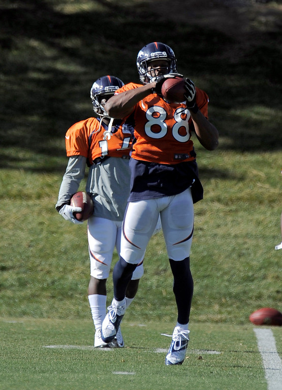 . Denver Broncos wide receiver Demaryius Thomas (88) catches a pass during practice November 13, 2013 at Dove Valley (Photo by John Leyba/The Denver Post)