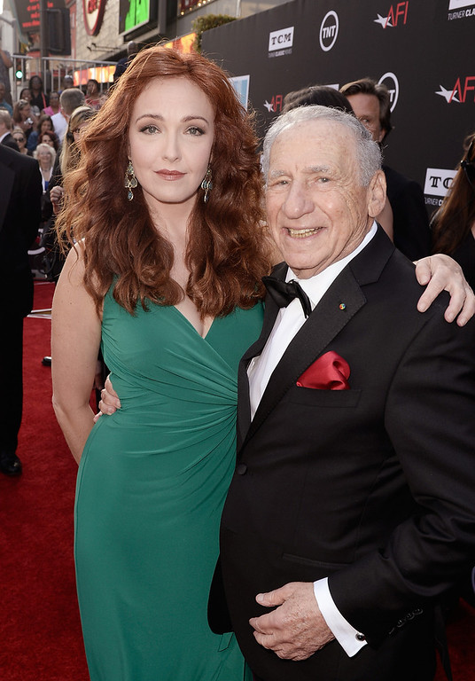 . Actress Amy Yasbeck (L) and honoree Mel Brooks attend the 41st AFI Life Achievement Award Honoring Mel Brooks at Dolby Theatre on June 6, 2013 in Hollywood, California. Special Broadcast will air Saturday, June 15 at 9:00 P.M. ET/PT on TNT and Wednesday, July 24 on TCM as part of an All-Night Tribute to Brooks.  (Photo by Kevin Winter/Getty Images for AFI)