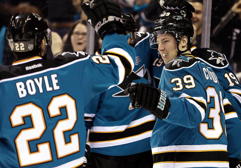 . San Jose Sharks\' Logan Couture (39) is congratulated by Ryane Boyle (29) after Couture scored a goal against the Colorado Avalanche during the first period of an NHL hockey game Tuesday, February 26, 2013, in San Jose, Calif. (AP Photo/Ben Margot)