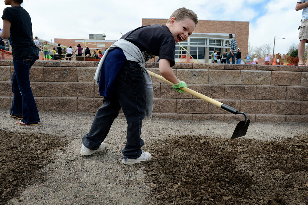 """. AURORA, CO. - MAY 18: Saiah Brydon, 8, enjoys working during the North Middle School Garden Festival in Aurora, CO May 18, 2013. The youths had just been informed that the worm castings they were smelling is also called \""""worm poop.\""""  The celebration marked the opening of the first school-based community garden in Aurora Public Schools. The project, funded by The Piton Foundation, was made possible through a partnership of Aurora Public Schools, Denver Urban Gardens (DUG), and Anschutz Medical Campus Department of Family Medicine and BRANCH, a multi-disciplinary student organization from the medical campus. A second garden is scheduled to open later this year at Hinkley High School. (Photo By Craig F. Walker/The Denver Post)"""