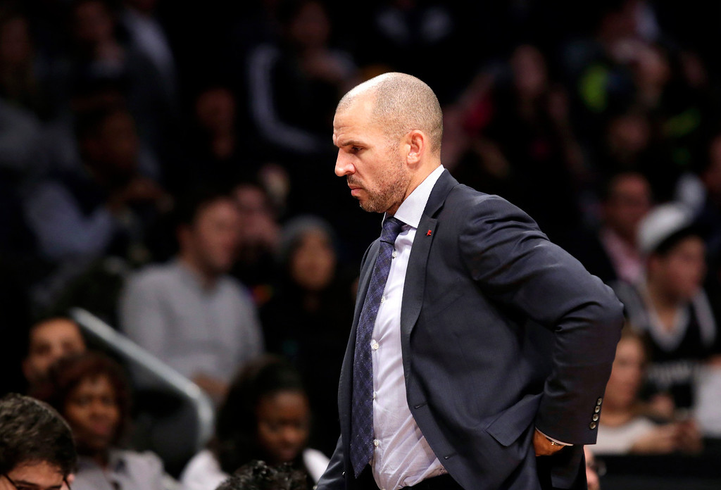 . Brooklyn Nets head coach Jason Kidd paces the sideline in the second half of an NBA basketball game against the Denver Nuggets, Tuesday, Dec. 3, 2013, in New York. The Nets reassigned assistant coach Lawrence Frank to a non-bench role in which he will write daily reports and won\'t be at practices. (AP Photo/Kathy Willens)