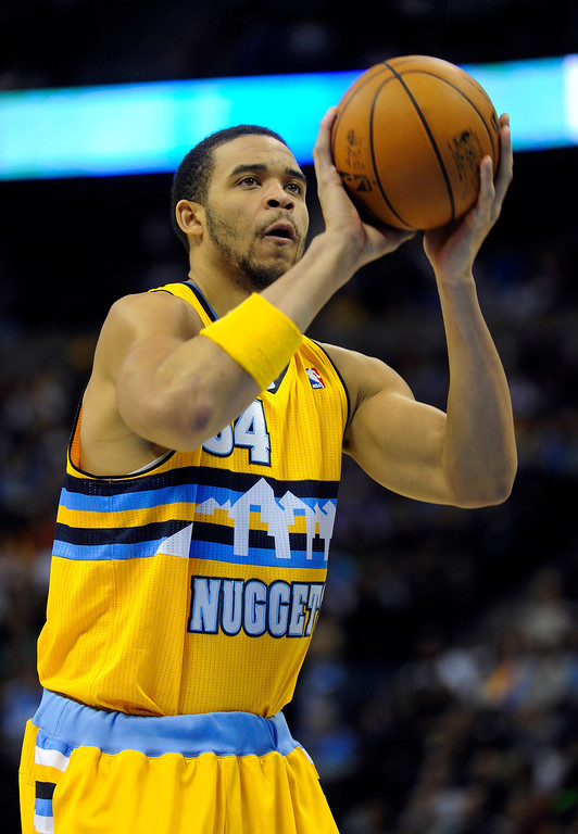 . DENVER, CO. - MARCH 21: JaVale McGee (34) of the Denver Nuggets eyed a shot from the line in the second half. The Denver Nuggets defeated the Philadelphia 76ers 101-100 Thursday night, March 21, 2013 at the Pepsi Center. The Nuggets are on a 14-game record winning streak that is a team record. (Photo By Karl Gehring/The Denver Post)