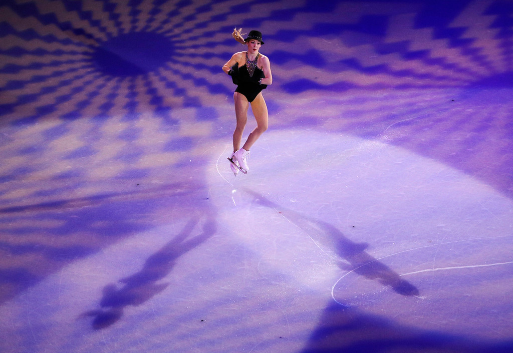 . Gracie Gold of the United States performs during the figure skating exhibition gala at the Iceberg Skating Palace during the 2014 Winter Olympics, Saturday, Feb. 22, 2014, in Sochi, Russia. (AP Photo/Vadim Ghirda)