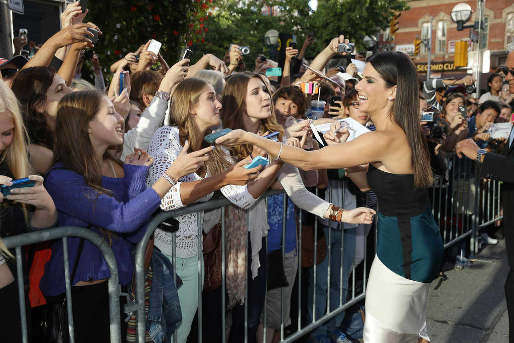 . IMAGE DISTRIBUTED FOR WARNER BROS. - Sandra Bullock seen at Warner Bros. \'Gravity\' Premiere at 2013 TIFF presented by Audi, on Sunday, Sep, 8, 2013 in Toronto. (Photo by Eric Charbonneau/Invision for Warner Bros./AP Images)