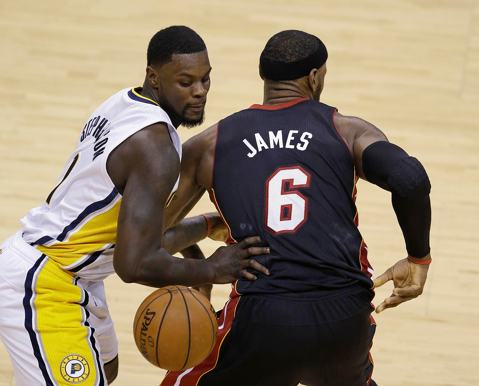 . Indiana Pacers\' Lance Stephenson strips Miami Heat\'s LeBron James of the basketball during the second half of Game 5 of the Eastern Conference finals NBA basketball playoff series Wednesday, May 28, 2014, in Indianapolis. (AP Photo/Darron Cummings)