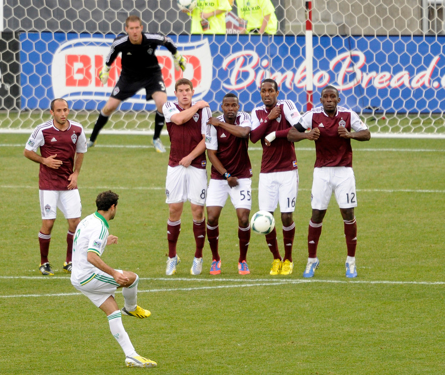 . The Rapids made a wall to defend against a kick from Diego Valeri (8) of the Portland Timbers in the second half. The Colorado Rapids tied the Portland Timbers 2-2 Saturday, March 30, 2013 at Dick\'s Sporting Goods Park in Commerce City.  Photo By Karl Gehring/The Denver Post)