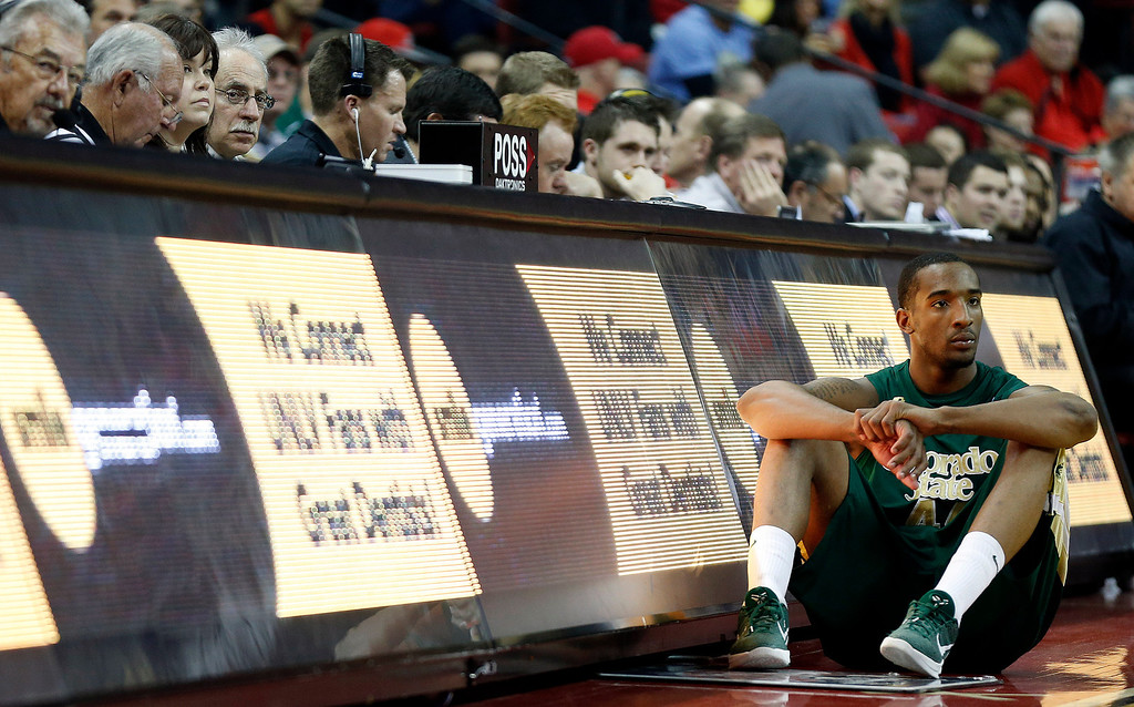 . Colorado State\'s Greg Smith waits to enter the game during the first half of an NCAA college basketball game on Wednesday, Feb. 20, 2013, in Las Vegas. UNLV defeated Colorado State 61-59. (AP Photo/Isaac Brekken)